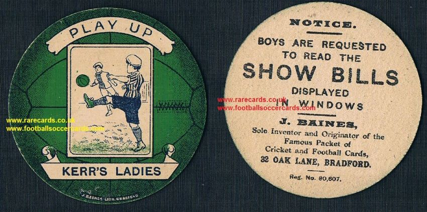 1918 THE 1st EVER! Dick Kerr's Ladies rookie women's football team Baines football trade card